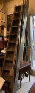 Rare Antique Gothic English Carved Wood Library Steps 119