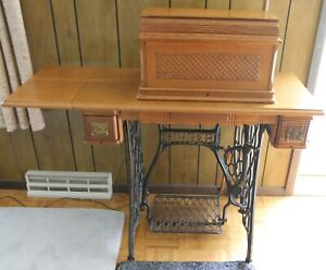 1896 Singer Treadle Sewing Machine No 27 Egyptian Sphinx With Puzzle Box Vgc