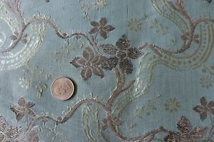 French Or Italian Antique 18thc Blue Silk Metallic Brocaded Fabric 44 X 22