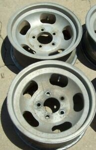 Vintage Rocket 15x7 Aluminum Slot Wheels Chevy Car Small Bolt Pattern 5x4 3 4