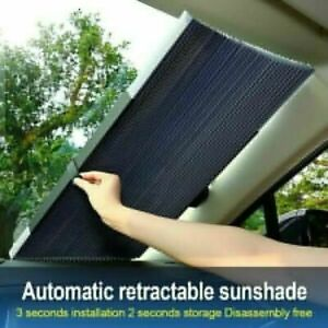 Us Retractable Car Windshield Sun Shade Visor Uv Protection Folding Shield Cover