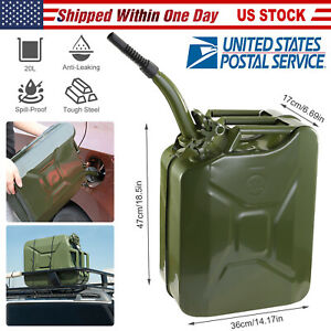 Jerry Can 5 Gallon 20l Gas Gasoline Fuel Army Green Backup Metal Steel Tank Us