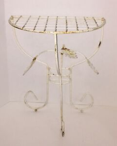 Vintage Mcm Wrought Iron Metal Wire Leaf Plant Stand Half Moon Table