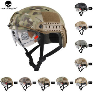 Emerson Tactical BJ Type FAST Helmet Protective Bump Base Jump Helmet w Glasses