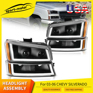 For 03 06 Chevy Silverado Led Tube Drl Headlight Headlamp Assembly Replacement