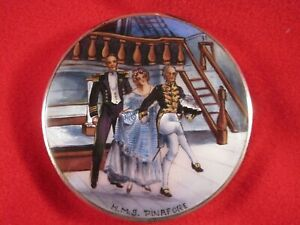 Hms Pinafore English Sterling Guilloche Enamel Ladies Compact