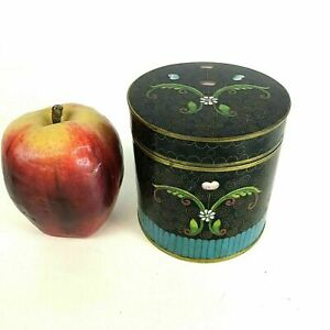 Antique Chinese Cloisonne Round Covered Box Jar