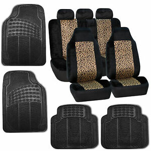 Car Seat Covers Brown Leopard Velour Luxury Rubber Floor Mat Set