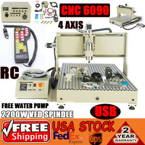 Usb 4 Axis Cnc Router 2 2kw Spindle Wood Engraving Cutting Machine handwheel Us