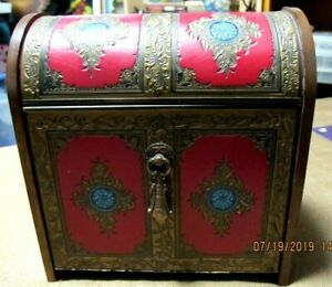 Vtg Rare Musical Wooden Leather Chest Liquor Cabinet Old Grand Dad Japan Red