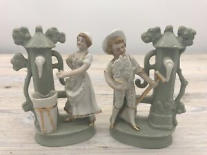 Pair Antique Bisque Porcelain Figures Man And Woman At Water Post W A Germany