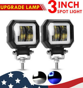Universal 3 Square Projector Blue Led Drl Halo Angel Eyes Fog Lights Lamp 2pcs