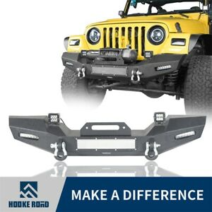 Full Width Front Bumper W Winch Plate For 97 06 Wrangler Jeep Tj hooke Road