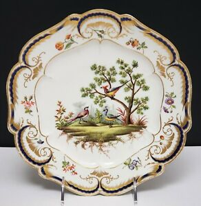 18th C Antique Sevres Porcelain Portrait Plate W Birds