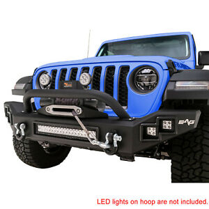 Heavy Duty Front Bumper Black With Led Light Bar Fit For 2020 Jeep Jt Gladiator