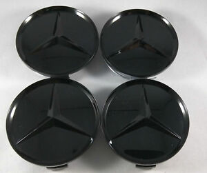 4ps Glossy Black Wheel Cover Badge Hub Center Cap 75mm For Mercedes Benz