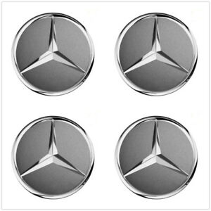 4pcs 75mm Grey Wheel Center Hub Cap Badge Emblem Rim Cover Mercedes Benz