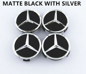 4pcs 75mm Matte Black Wheel Center Hub Cap Badge Emblem Rim Cover Mercedes Benz