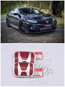 2pcs Jdm Red H Emblem Front Rear For 2016 21 Honda Civic Sedan