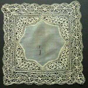 Antique Maltese Bobbin Lace Silk Hanky 11x11 Heirloom Exquisite Hand Made Fine