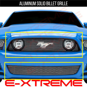 Billet Grille Grill Combo For Ford Mustang Gt 2013 2014 with Logo Cut out
