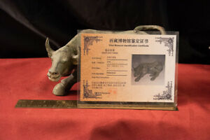 Chinese Western Han Period Ox Sculpture 206 B C A D 9 W Certif Of Provenance