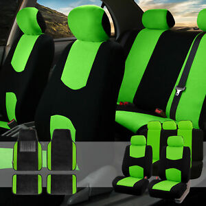 Car Seat Covers Set For Auto 5 Headrests Black Green With Carpet Floor Mat
