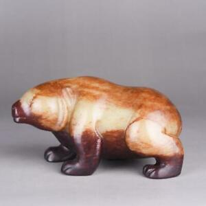 Chinese Exquisite Hand Carved Hetian Jade Bear Statue