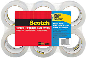 6 Pack Clear Scotch Tape Heavy Duty Shipping Packing W Dispenser 1 88x 54 6 Yd