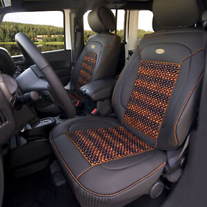 Premium Leather Seat Covers Cushion Msaage Cooling Beads Black