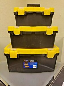3 Pcs Piece Plastic Tool Box Set Handle Tray Compartment Free Shipping