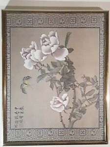 Vintage Chinese Painting Silk Canvas Signed And Framed