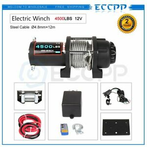 Eccpp 4500lbs Electric Winch Towing Truck Steel Wire Rope Off Road Atv Utv 12v