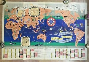 World Map By Jannot Jan Loup 1956 Original Large Pictorial Map