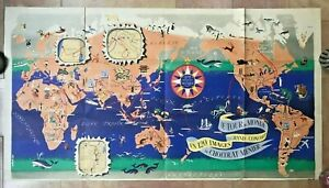 World Map By Jannot Jan Loup 1956 Antique Large Pictorial Map