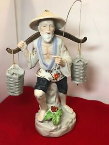 Chinese Porcelain Fisherman Figurine With Buckets And Fishing Pole W Fish 13 T