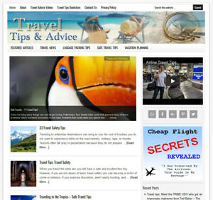 Travel Advice Turnkey Niche Website Business Template For Sale Auto Content