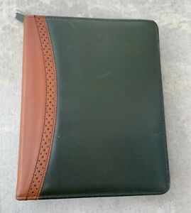 Franklin Covey Classic Planner Zip around Green Brown Full grain Aniline Leather