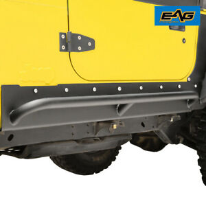 Eag Armor Rock Slider With Tube Running Step Steel Fit 97 06 Jeep Wrangler Tj