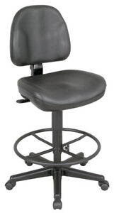Alvin Ch444 90dh Black Leather Premo Drafting Height Ergonomic Chair