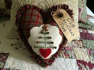 Handcrafted Primitive Ragged Edge Ole Christmas Tree Pillow