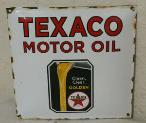 Texaco Golden Motor Oil Vintage Style Porcelain Signs Gas Pump Man Cave Station