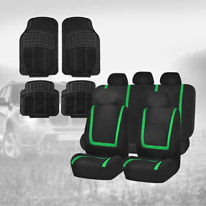 Black Green Car Seat Covers With Black Floor Mats Combo For Auto Car Suv