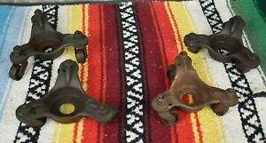 Lot Of 4 Vtg Universal Cast Iron 3 wheel Swivel Casters Machinery Dollies Piano