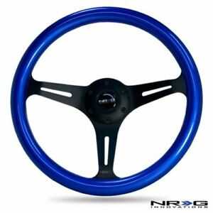 Nrg Steering Wheel 330mm 12 99 Inches Blue Colored Wood Black Spokes St 01