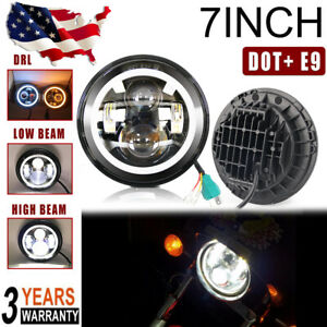 7 Motorcycle Universal Round Led Headlight Amber White Halo Angel Eye Drl Hi lo