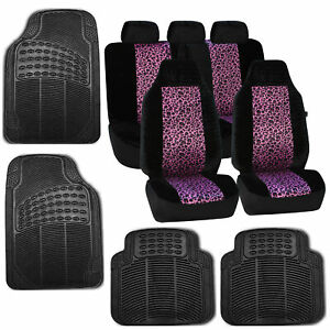 Car Seat Covers Purple Leopard Velour Luxury Rubber Floor Mat Set