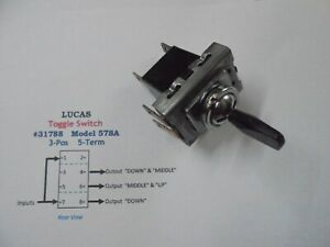 Lucas Vintage 31788 3 Pos 5 Term Toggle Switch