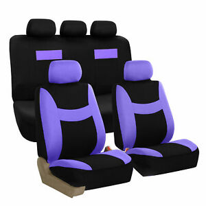 Car Seat Covers Purple And Black Complete Full Set For Auto Vehicle Upholstery