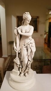 Antique Victorian Woman Statue With Harp